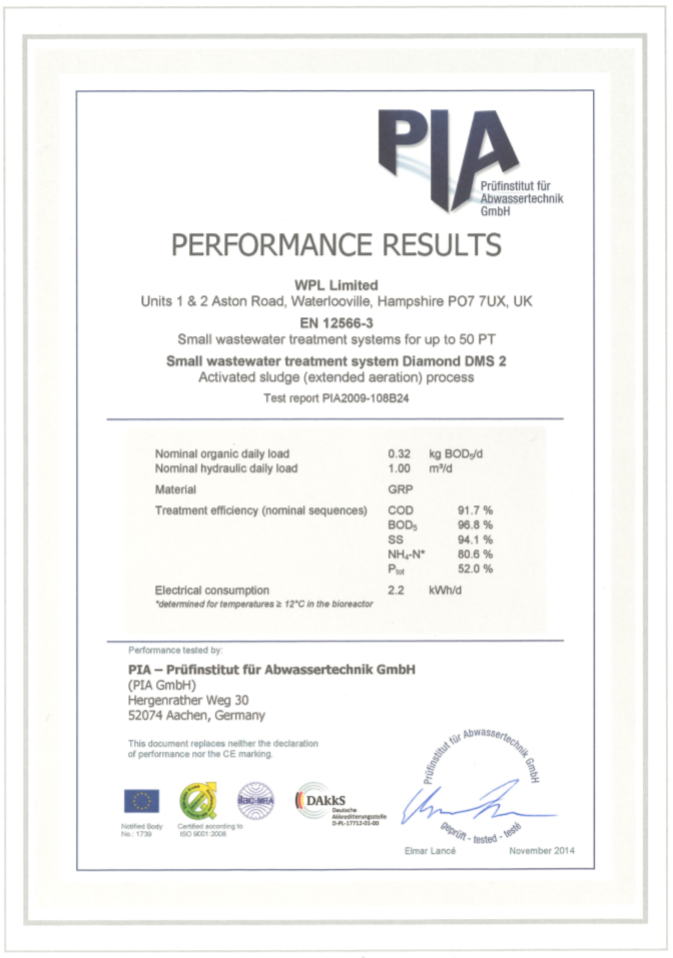 WPL Diamond - Image of PIA certificate of the WPL Diamond package sewage treatment plant performance results
